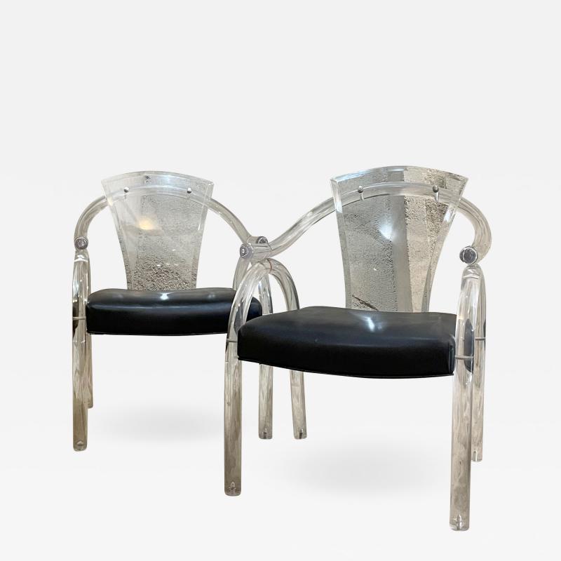 Charles Hollis Jones Asian Inspired Lucite Chairs Navy Vinyl Charles Hollis Jones Regency 1970s