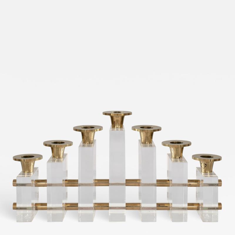Charles Hollis Jones Charles Hollis Jones Candle Holder Candelabra in Brass Lucite