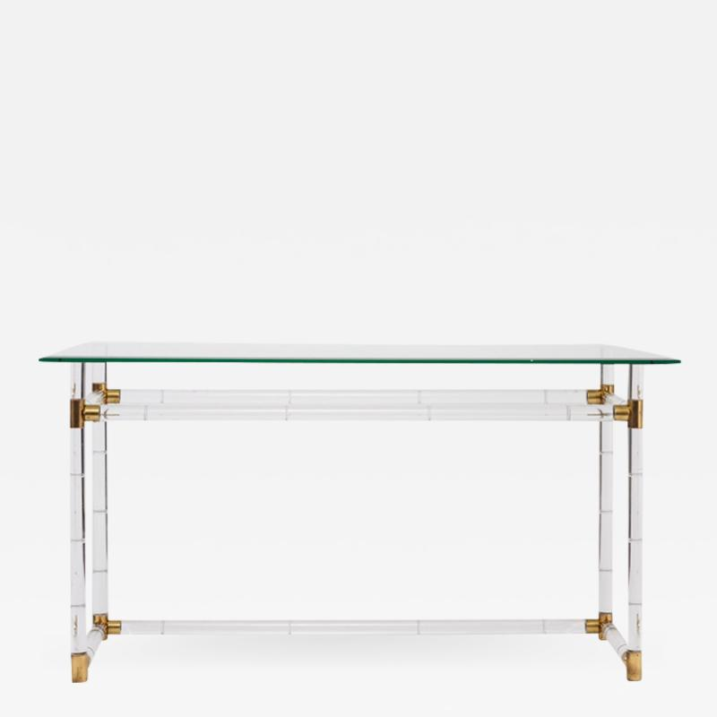 Charles Hollis Jones Charles Hollis Jones Faux Bamboo in Lucite Brass Console Pair Available