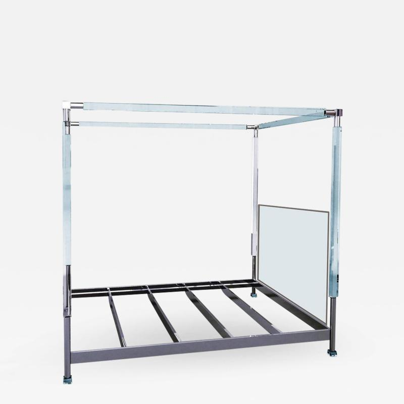 Charles Hollis Jones Charles Hollis Jones Stallone Bed in Lucite and Nickel