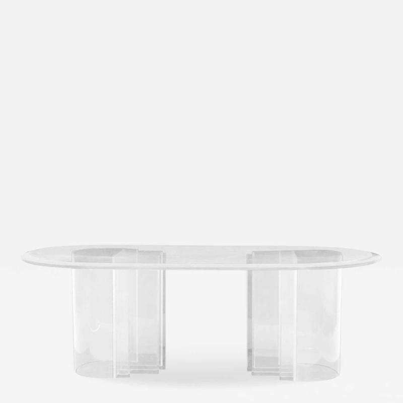 Charles Hollis Jones Double Pedestal Lucite Dining Table by Charles Hollis Jones Blade Line