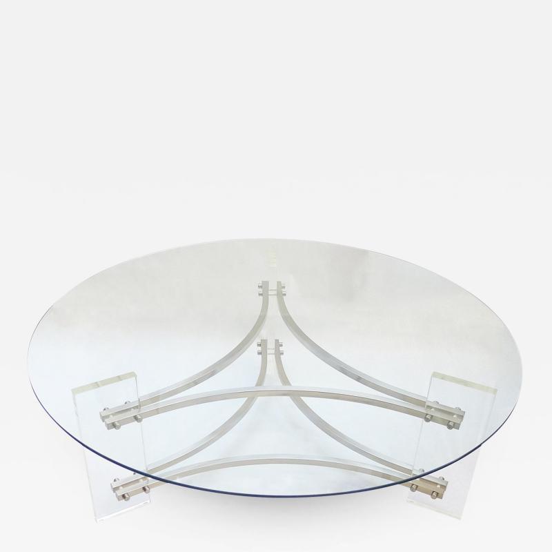 Charles Hollis Jones Glass Lucite Coffee Table by Charles Hollis Jones