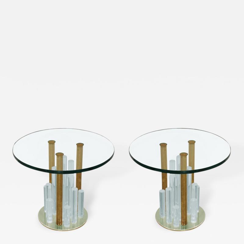 Charles Hollis Jones Lucite and Brass Skyscraper Side Tables by Charles Hollis Jones