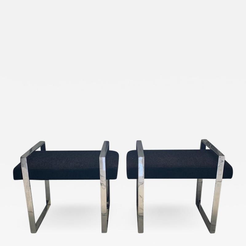 Charles Hollis Jones Pair of Vintage Charles Hollis Jones Box Line Benches or Stools USA 1970s