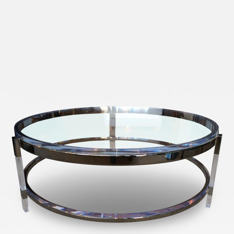 Charles Hollis Jones Round Coffee Table in Lucite Nickel by Charles Hollis Jones Metric Collection