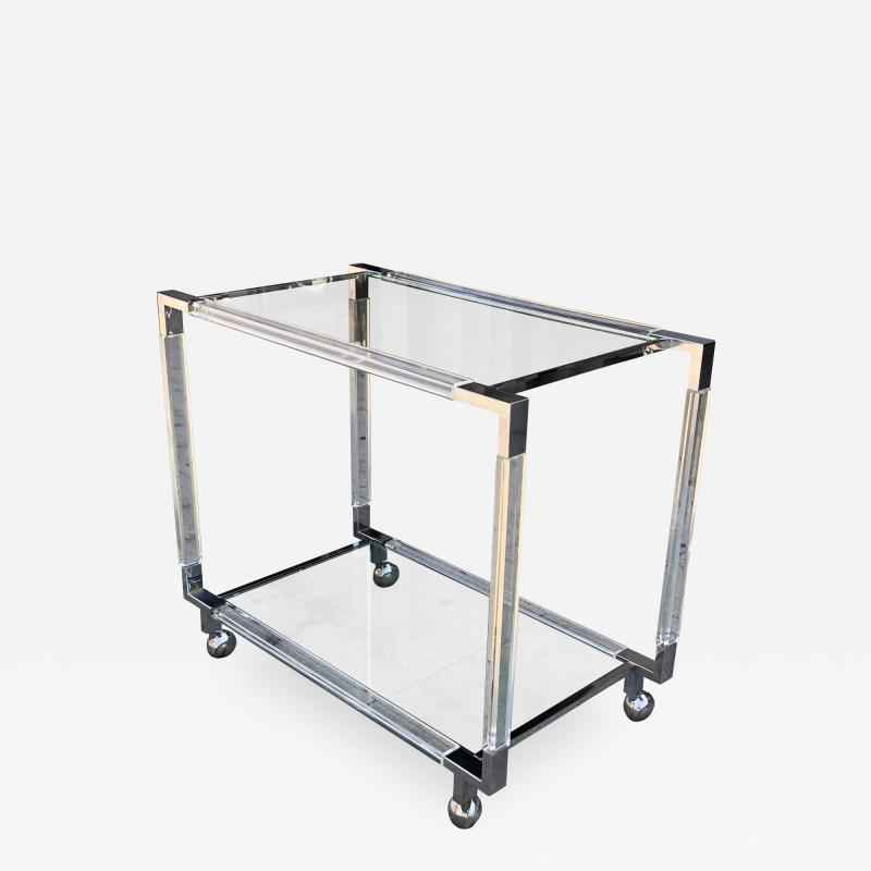 Charles Hollis Jones Vintage Chrome and Lucite Bar Cart by Charles Hollis Jones Metric Collection