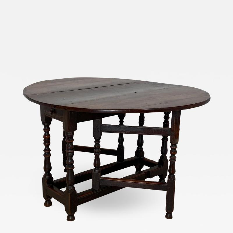 Charles II Oak Drop Leaf Table England 17th Century