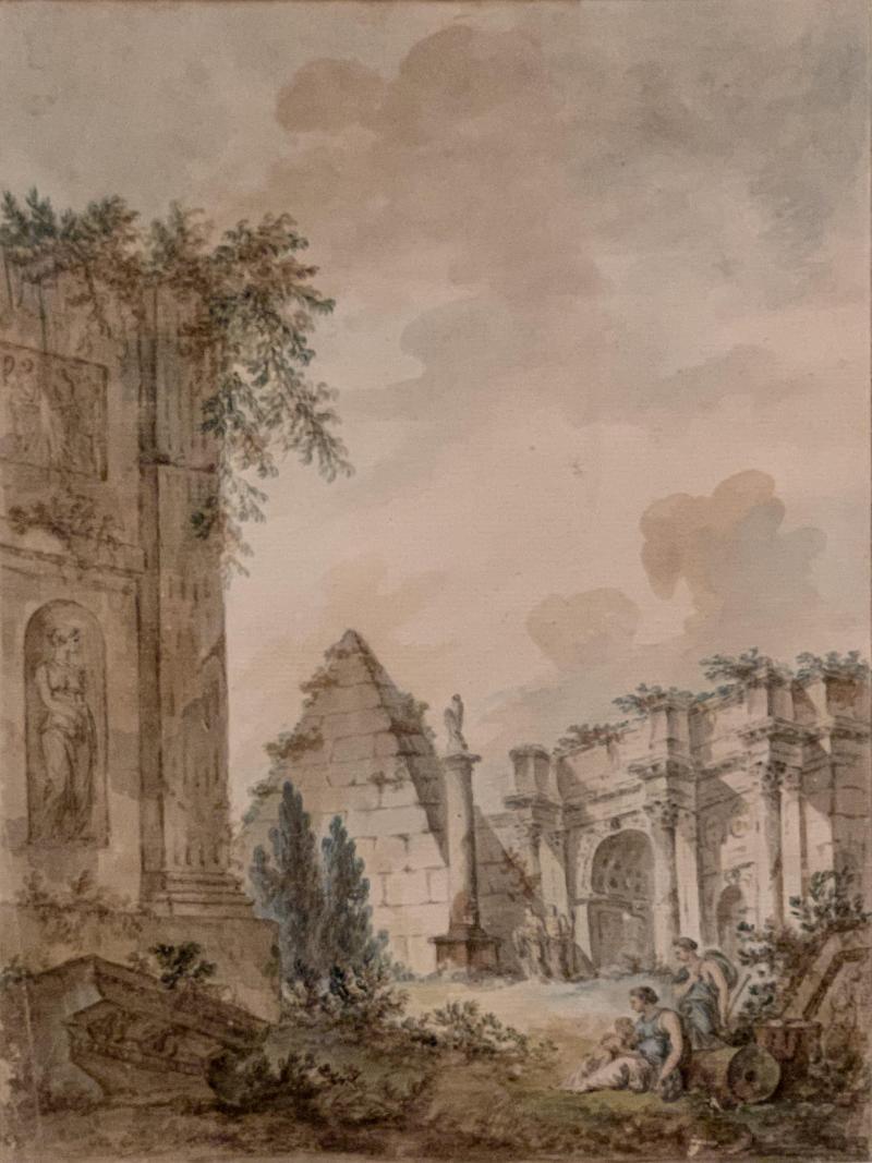 Charles Louis Clerisseau Capriccio with Roman Ruins