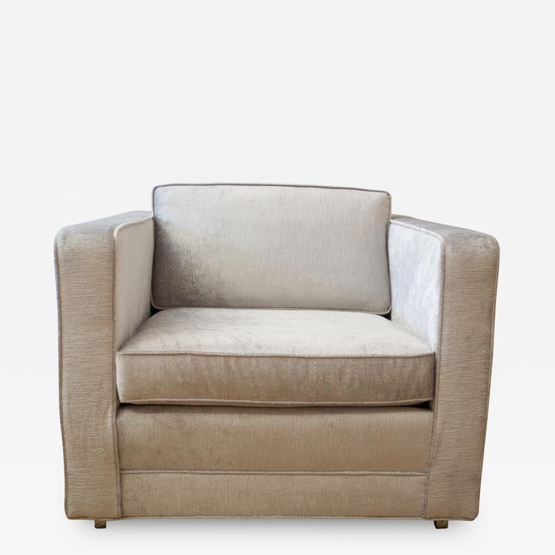 Charles Pfister Knoll Pfister Club Chair in Silver Linen Velvet