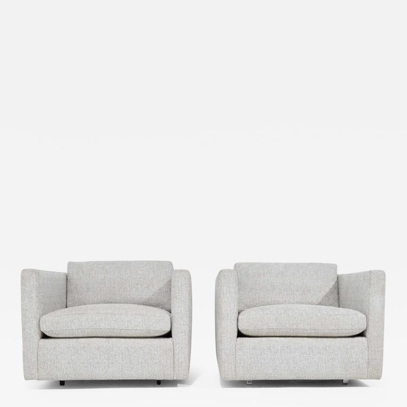 Charles Pfister Pair of Charles Pfister for Knoll Lounge Chairs in Taupe White Upholstery