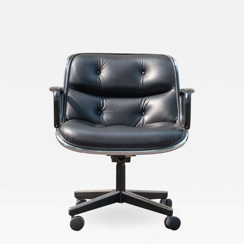 Charles Pollock Pollock Executive Chairs in Black Leather by Charles Pollock for Knoll
