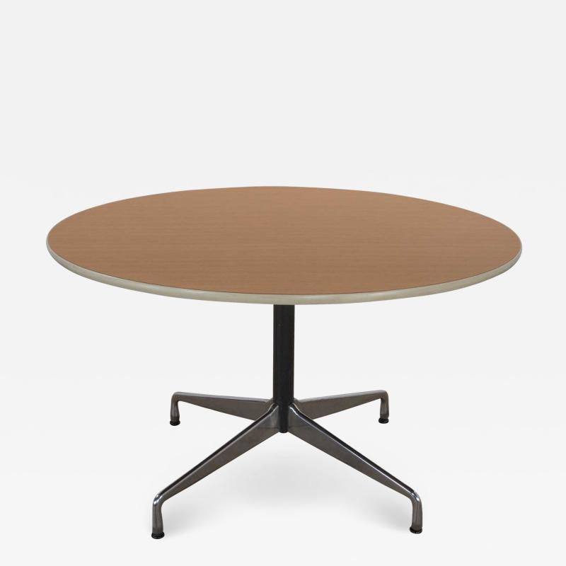 Charles Ray Eames Eames herman miller round tables universal base wood grain laminate top