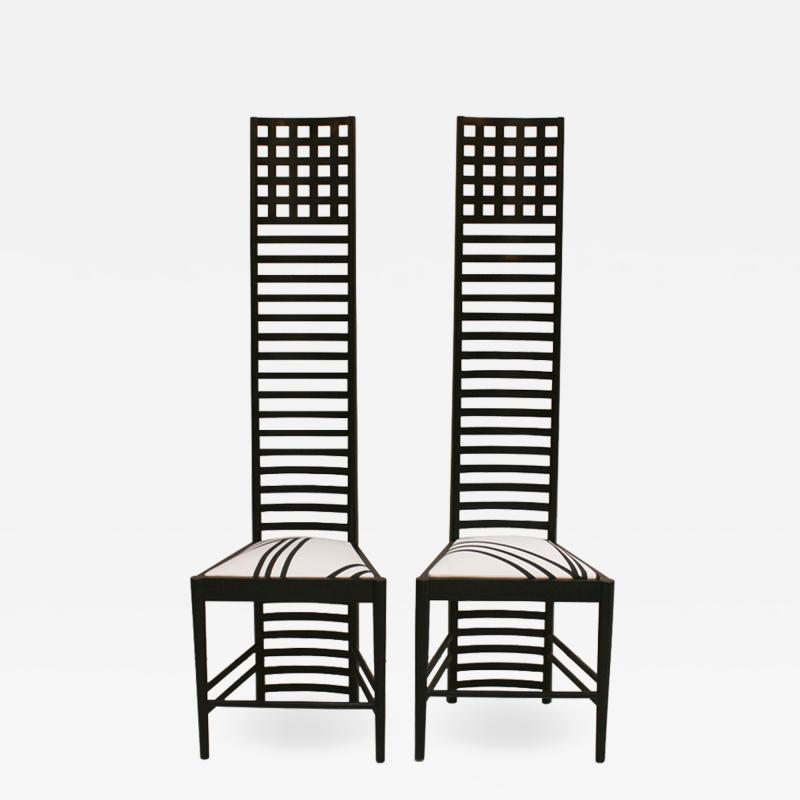 Charles Rennie Mackintosh Mid Century Modern Mackintosh 292 Hill House 1 Italian Pair of Ashwood Chairs