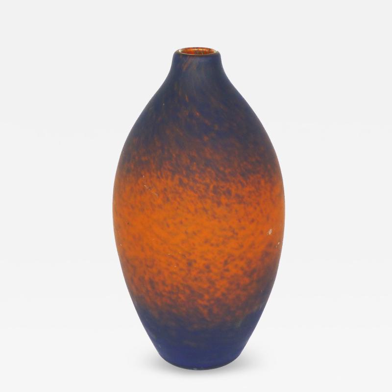 Charles Schneider Charles Scheider French Art Deco Cobalt Blue to Orange Vase circa 1930