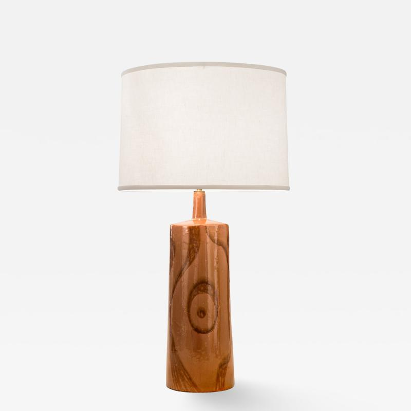 Charles Sucsan Charles Sucsan A Lamp with a Sinuous Glazed Abstract Design