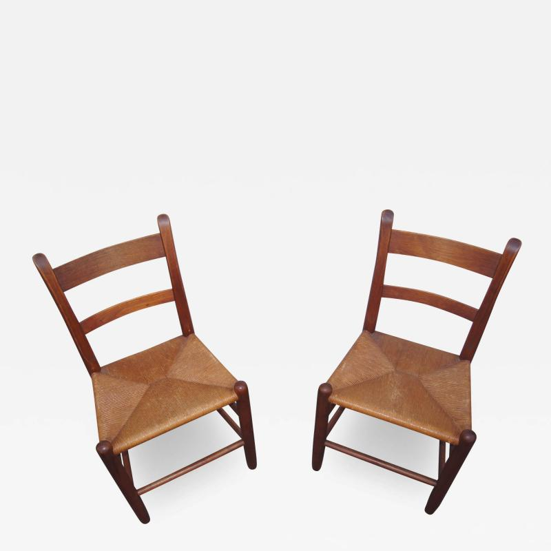 Charles Webb Pair of Teak and Rush Dining Chairs by Charles Webb
