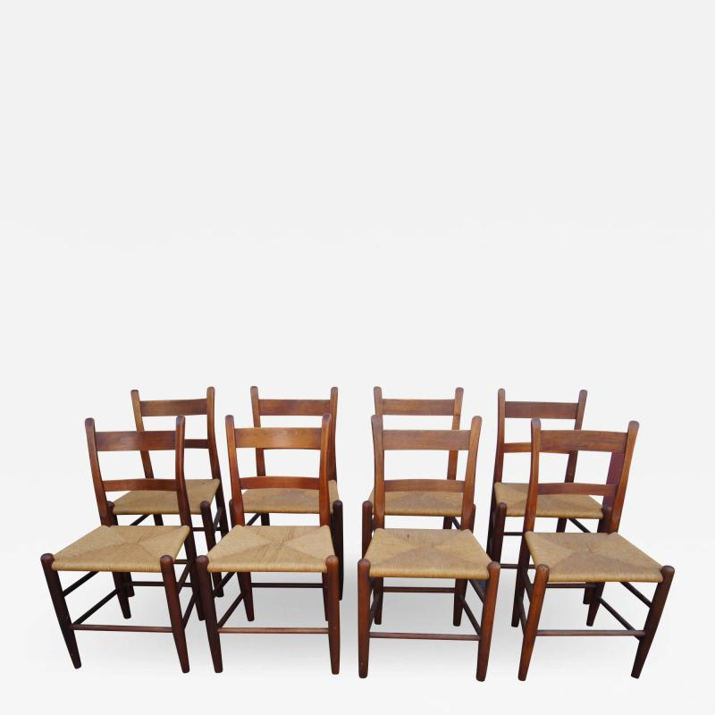 Charles Webb Set of Eight Teak and Rush Dining Chairs by Charles Webb