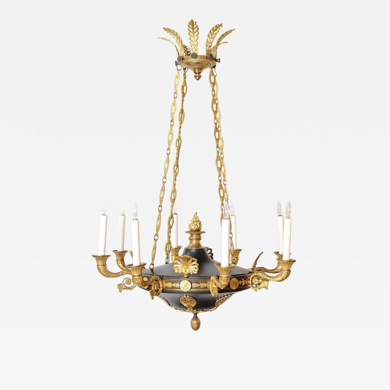 Charles X Gilt and Patinated Bronze Eight Light Chandelier