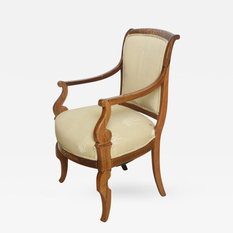 Charles X Inlaid Mahogany and Walnut Open Armchair France