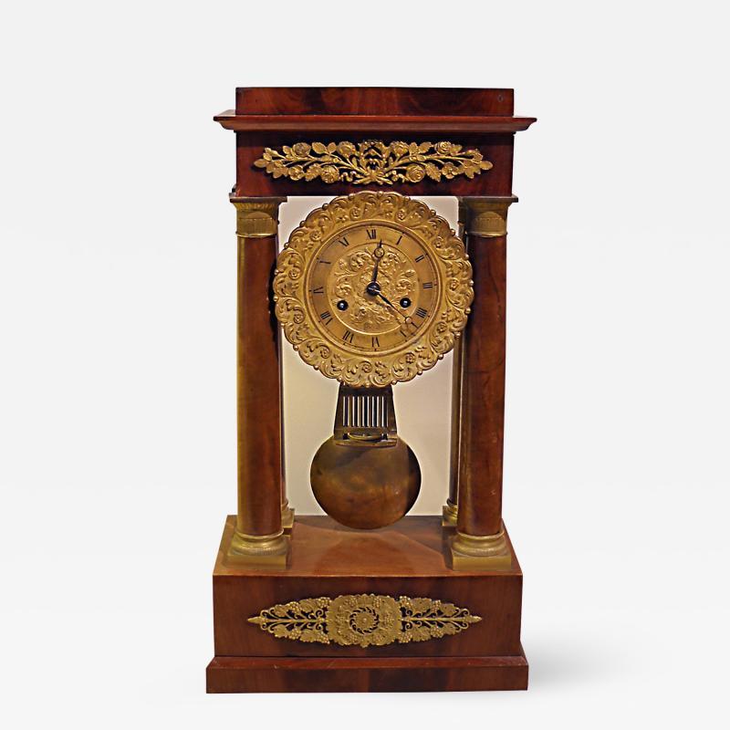Charles X Mahogany Mantel Clock