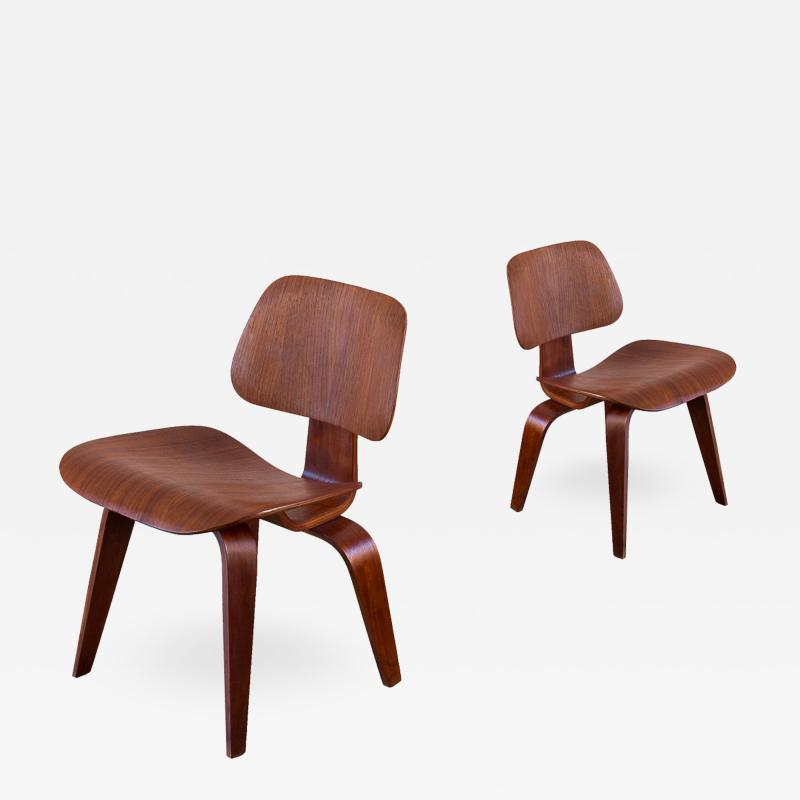 Charles and Ray Eames Pair of Early Walnut Eames DCWs for Herman Miller