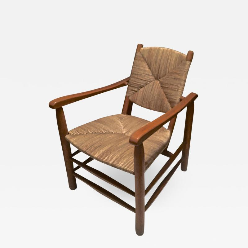 Charlotte Perriand Charlotte Perriand Iconic Rush Arm Chair in Genuine Vintage Condition