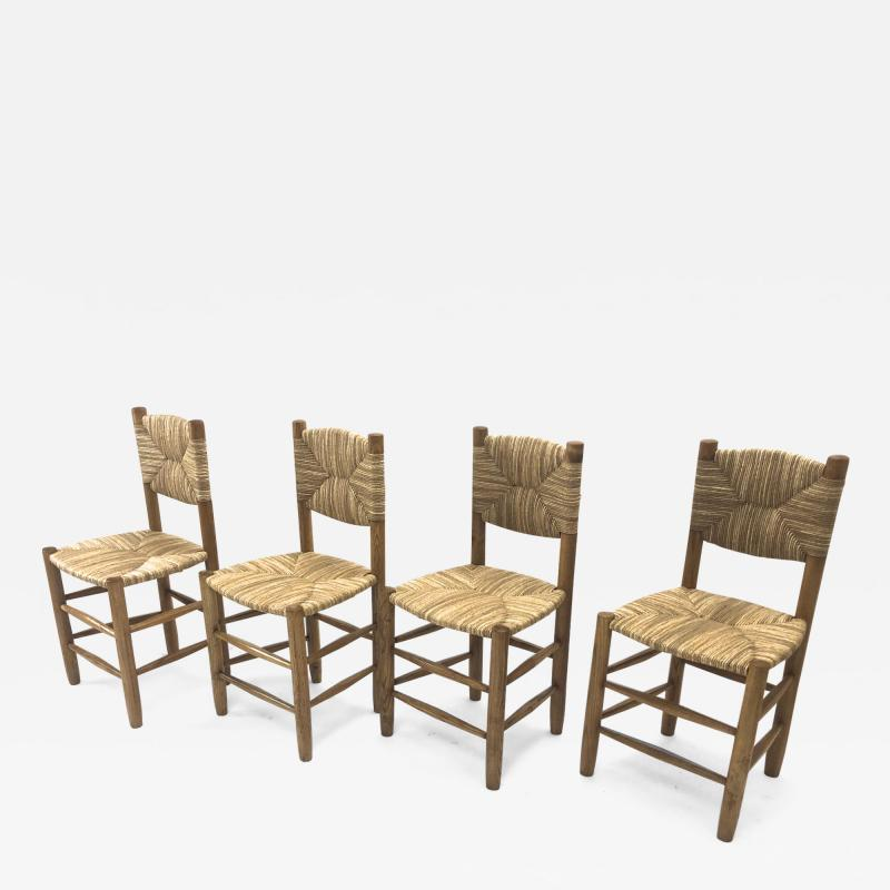 Charlotte Perriand Charlotte Perriand genuine set of 4 Bauche chairs in ash tree and rush