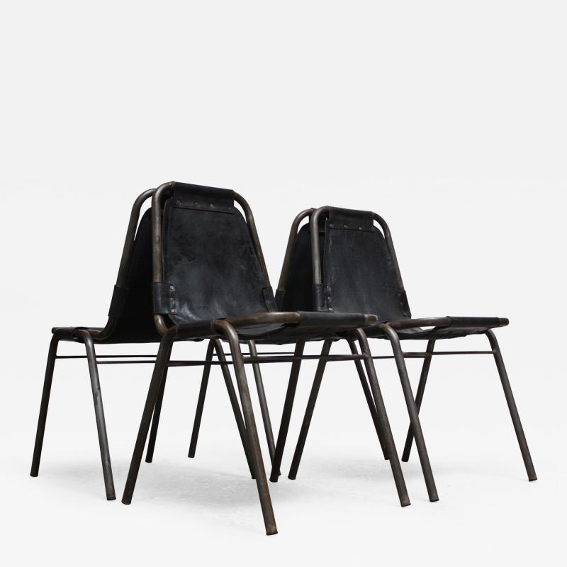 Charlotte Perriand Early Set of Four Les Arcs Chairs by Charlotte Perriand