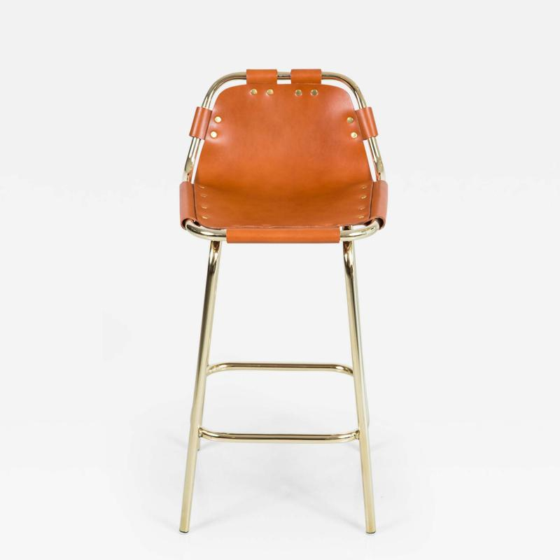 Charlotte Perriand Les Arcs Barstool Saddle And Brass