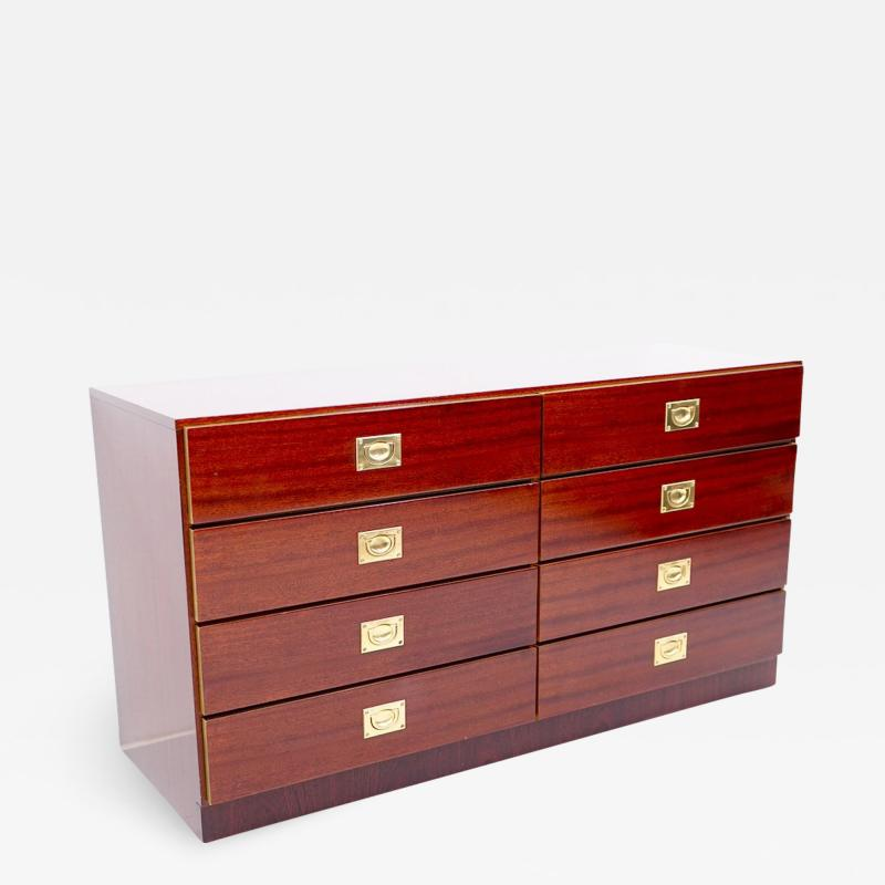 Chest of Drawers Sideboard in Mahogany and Brass 1970s