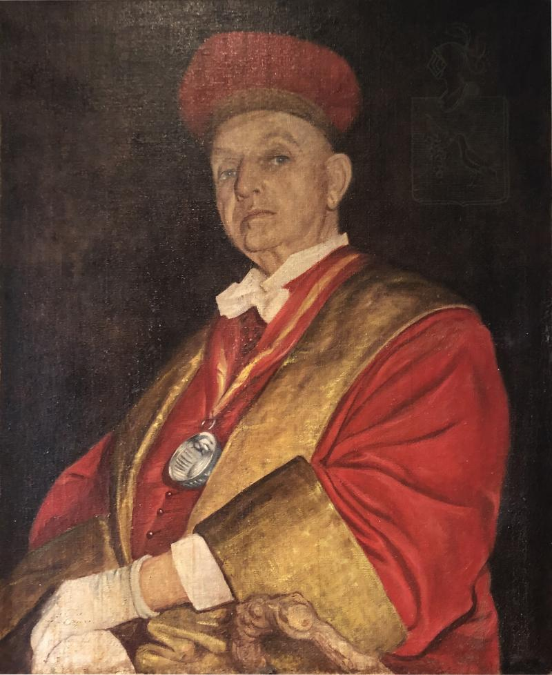 Chevalier du Tastevin Enormous French Oil on Canvas