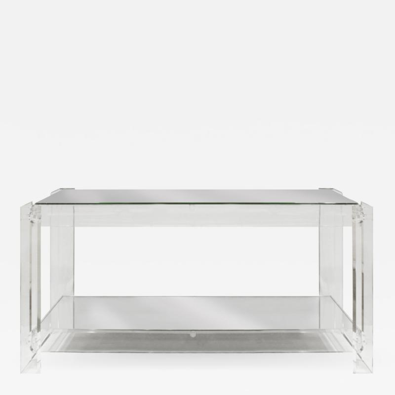 Chic Console Table in Lucite with Mirror Tops 1970s