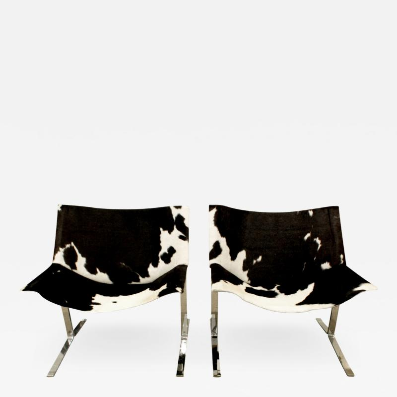 Chic Pair of Sling Chairs in Steel with Cow Hides 1963