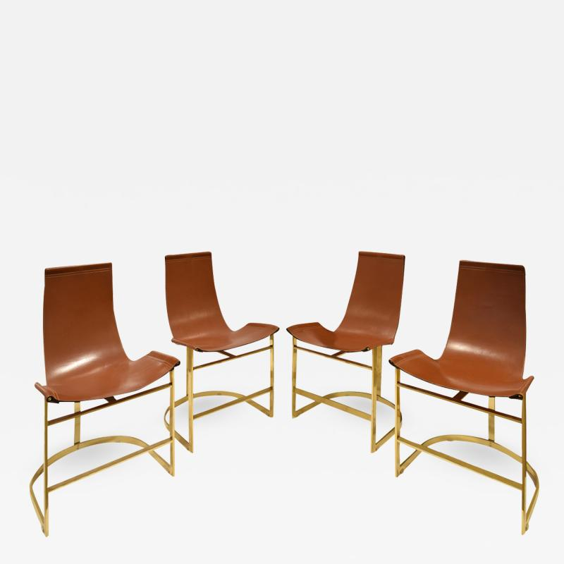 Chic Set of 4 Dining Game Chairs in Brass and Leather 1970s