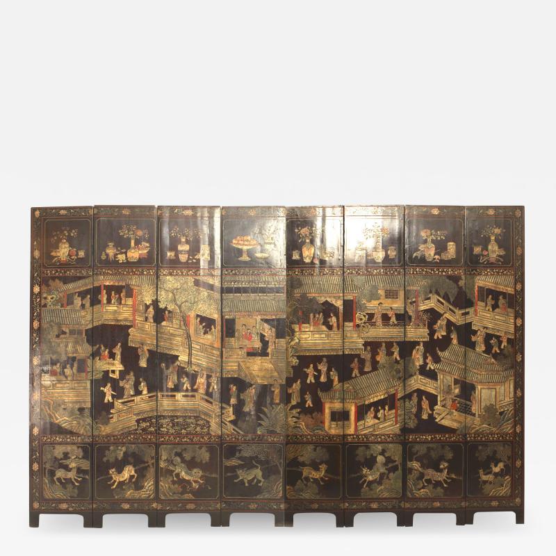 Chinese Coromandel 8 Fold Screen