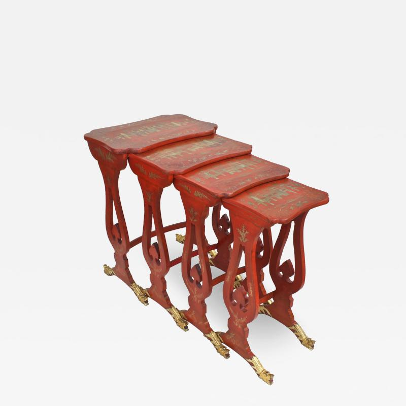 Chinese Export Parcel gilt on Lacquer Quartetto Tables