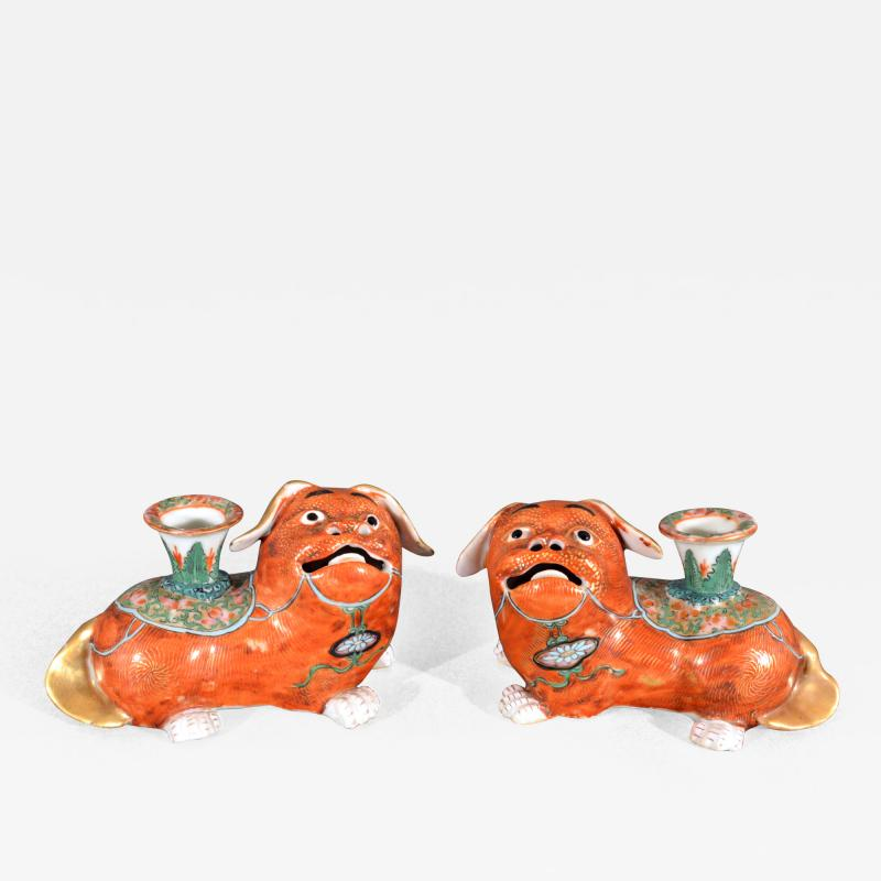 Chinese Export Porcelain Canton Pair of Foo Dog Candlesticks
