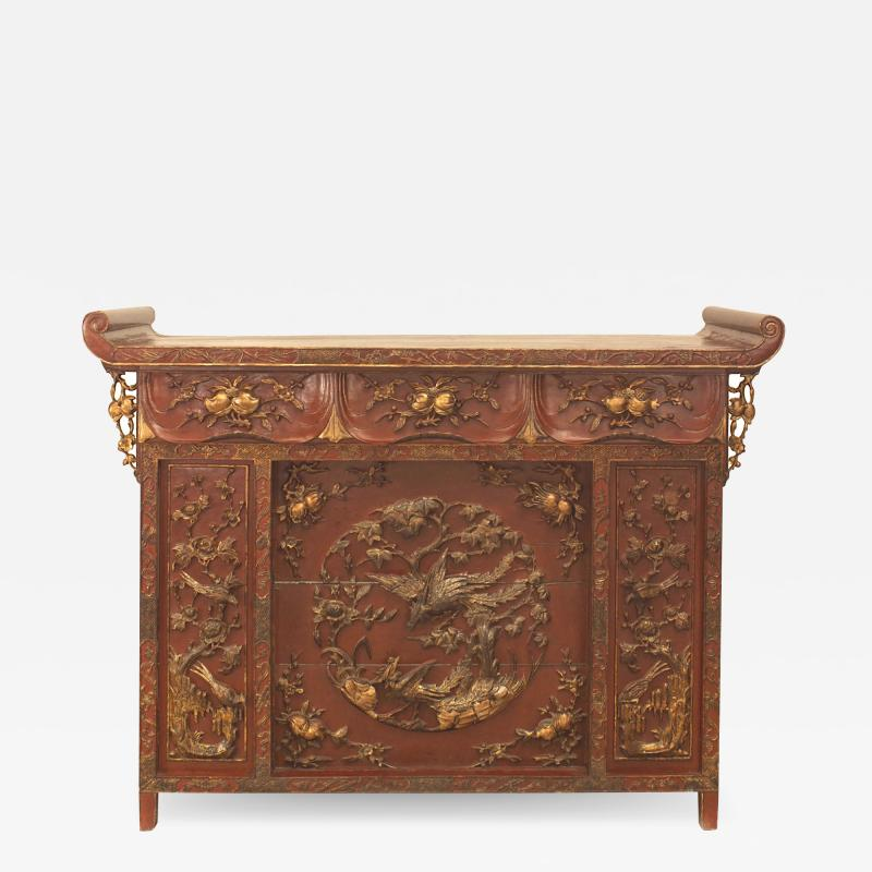 Chinese Red Lacquered and Gilt Altar Console Table