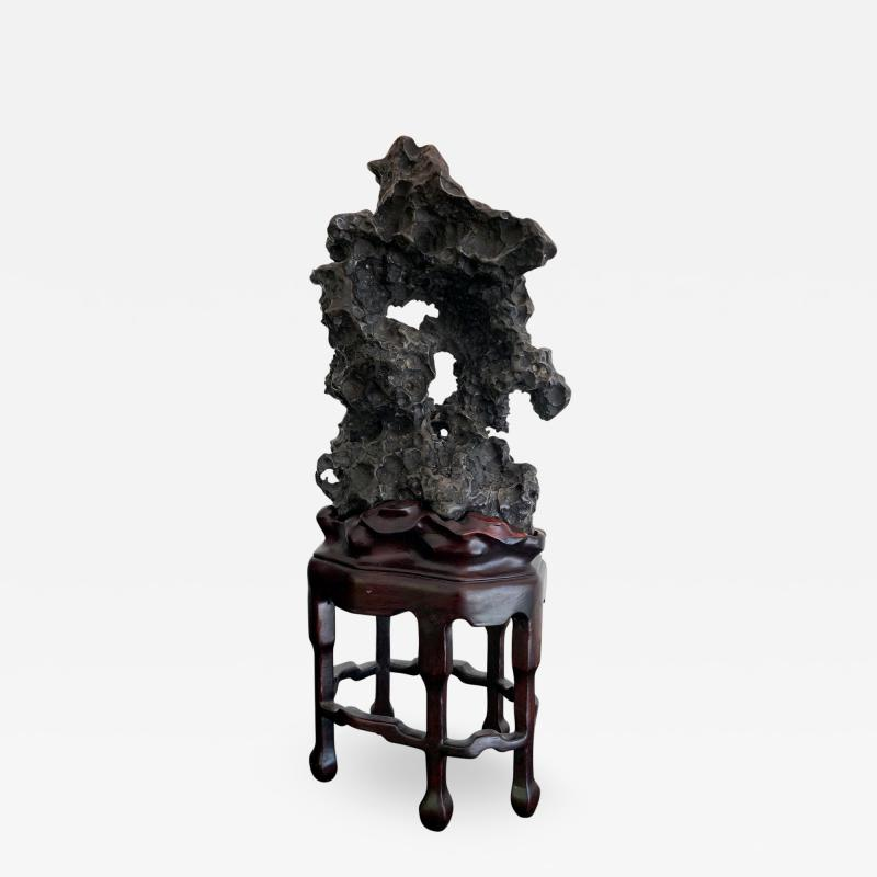 Chinese Scholar Rock in Metal Form on Display Stand