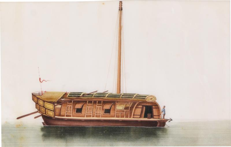 Chinese School Chinese Export Watercolours on Pith Paper set of twelve Junks and Barges