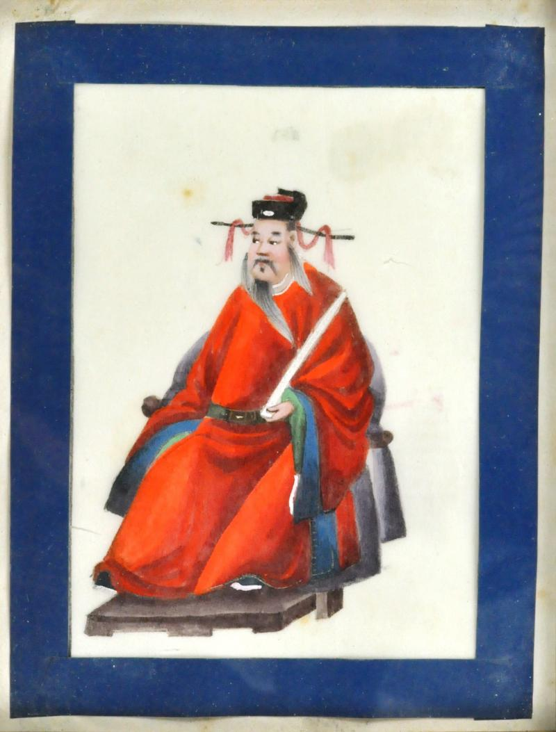 Chinese School Wise Men Chinese Export watercolours on Pith paper
