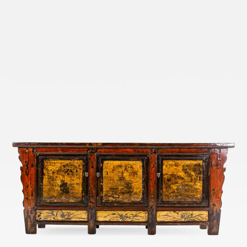 Chinese Sideboard with Three Drawers and Three Doors