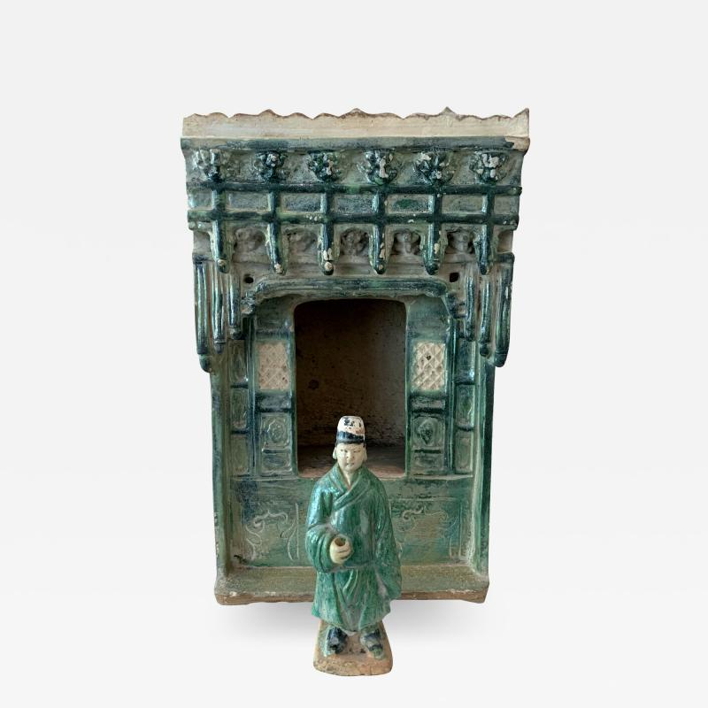 Chinese Stoneware Funeral Shrine Model and Figure Ming Dynasty