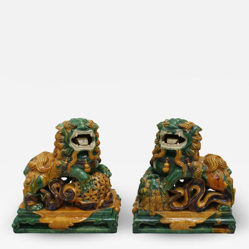 Chinese XIX Century Pair of Protection Foo Lions