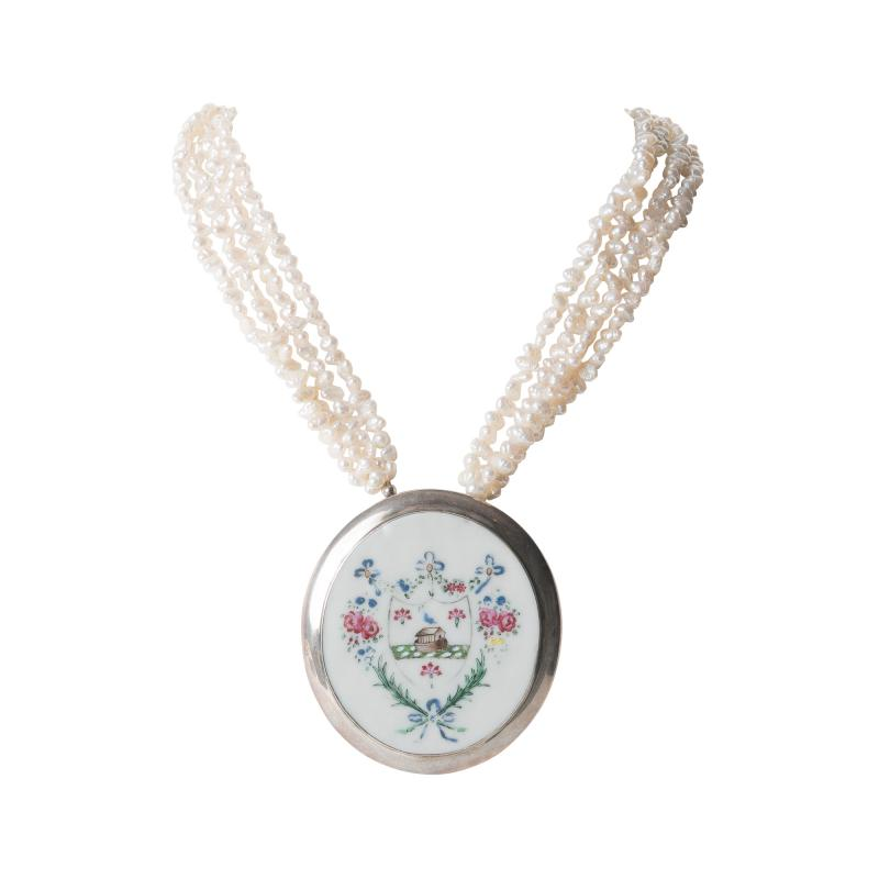 Chinese export porcelain armorial shard on a multi strand pearl necklace