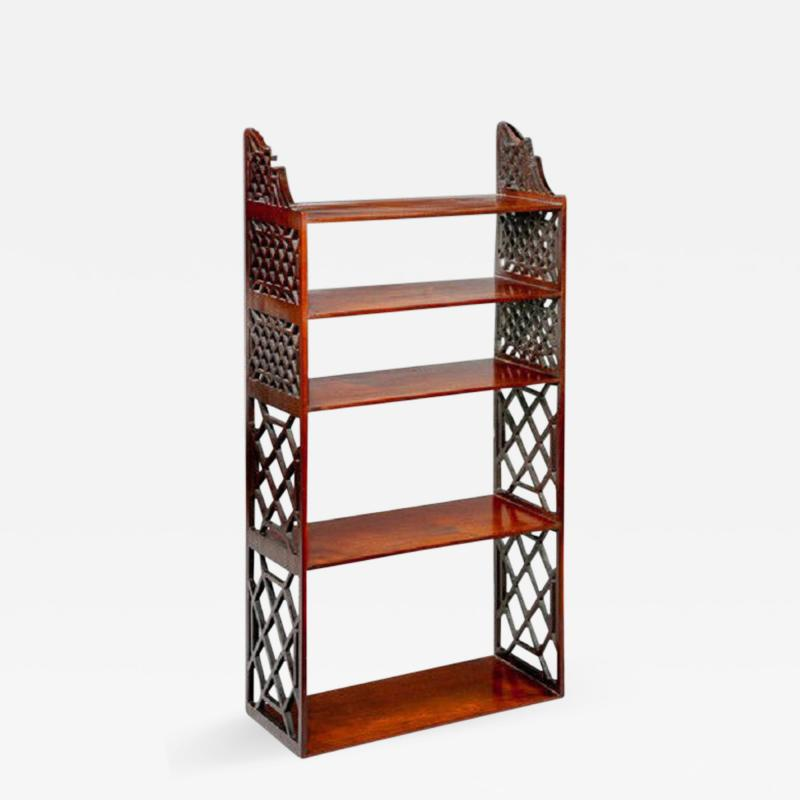 Chippendale period mahogany hanging wall shelves