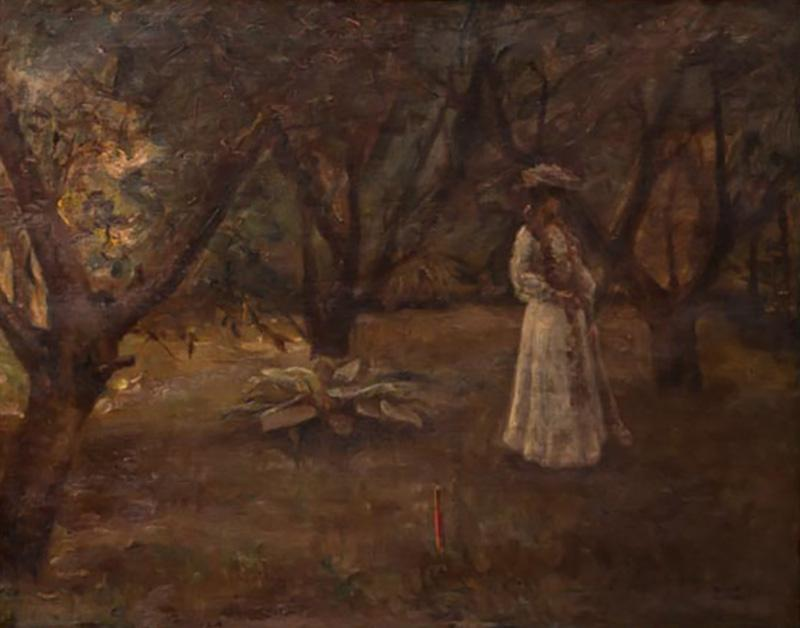 Christian Claussen Original Antique Oil Painting of Victorian Woman Playing Croquet