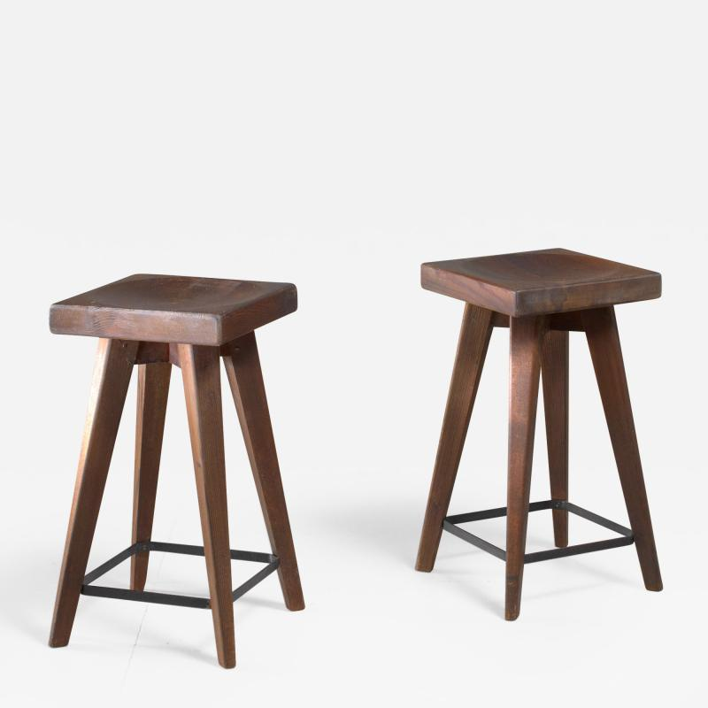 Christian Durupt Pair of Christian Durupt stools from Meribel France 1950s