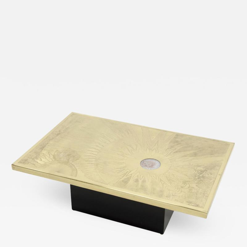 Christian Krekels Etched brass coffee table by Christian Krekels Signed and date 1976