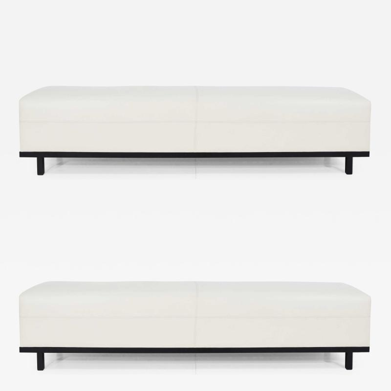 Christian Liaigre Pair of Christian Liaigre Nankin Benches in White Leather
